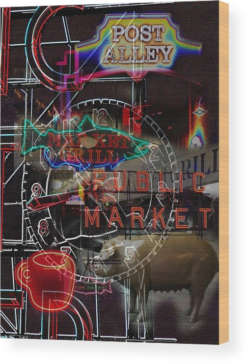 Seattle Wood Print featuring the photograph Market Medley by Tim Allen