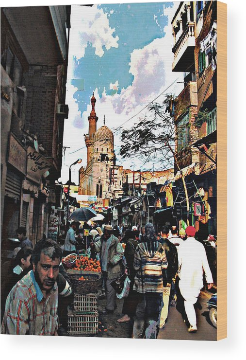 Medieval Cairo Wood Print featuring the digital art Market by Noredin Morgan