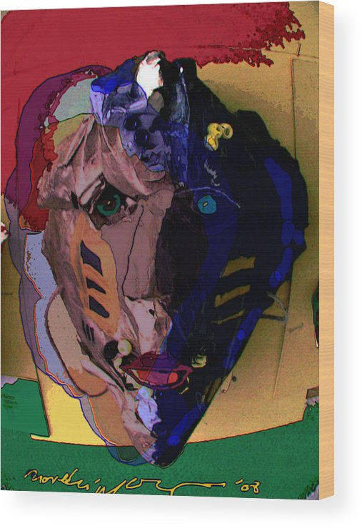 Mask Wood Print featuring the painting Mask 17 by Noredin Morgan