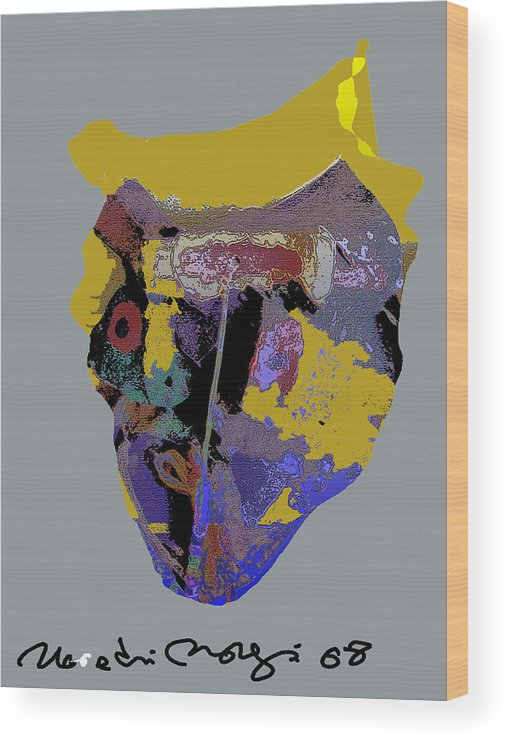 Mask Wood Print featuring the painting Mask 20 by Noredin Morgan