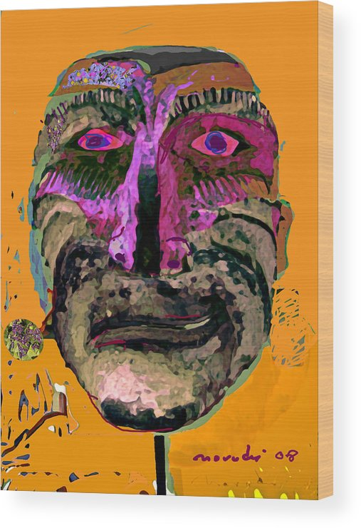Mask Wood Print featuring the painting Mask 7 by Noredin Morgan