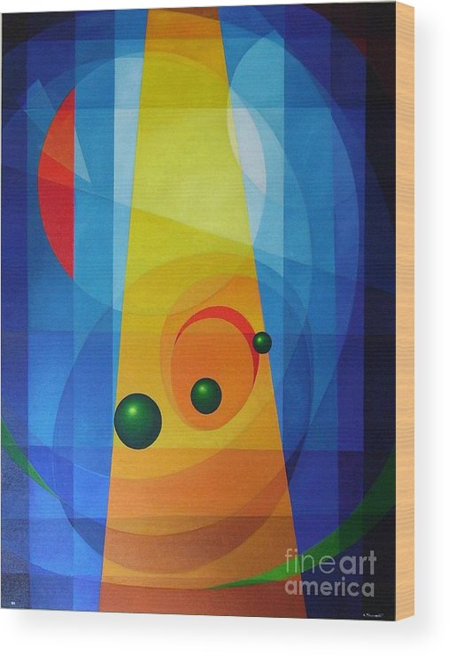 Geometric Abstract Wood Print featuring the painting Maternity by Alberto DAssumpcao