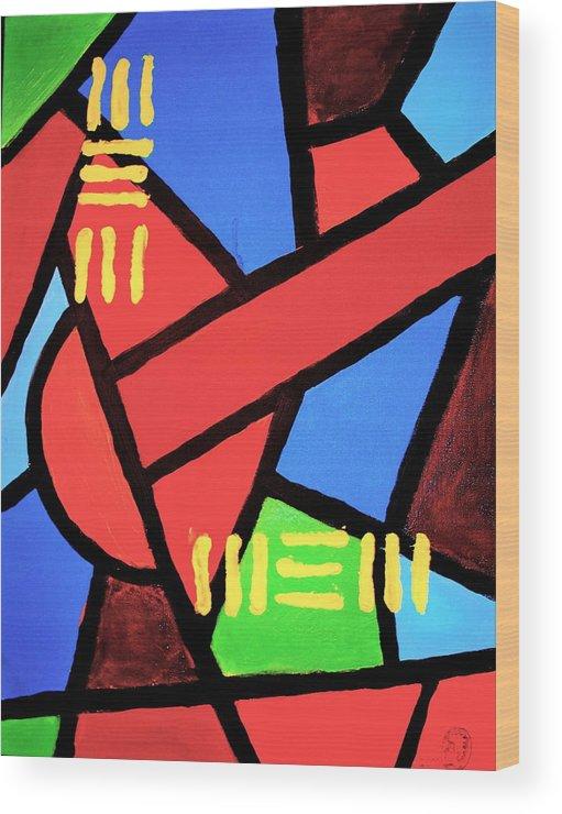 Absract Wood Print featuring the painting Mbili by Malik Seneferu