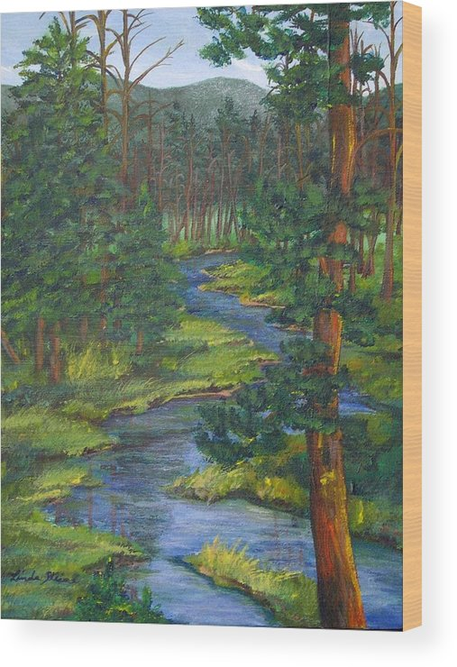 Landscape Wood Print featuring the painting Meandering River by Linda Steine