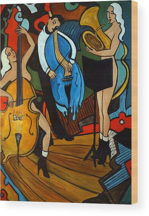 Musician Abstract Wood Print featuring the painting Melting Jazz by Valerie Vescovi