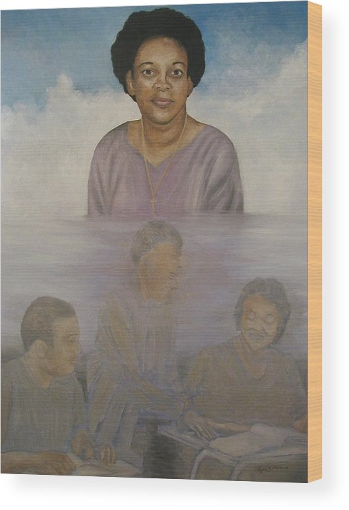 Portrait Wood Print featuring the painting Memorial To Ms. Calvin by Angelo Thomas