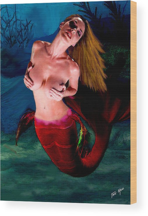 Mermaid Wood Print featuring the painting Mermaid Desire by Tray Mead