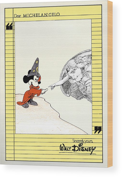 Mickey Mouse Wood Print featuring the painting Michelangelo's Creation Of Mickey by Turtle Caps