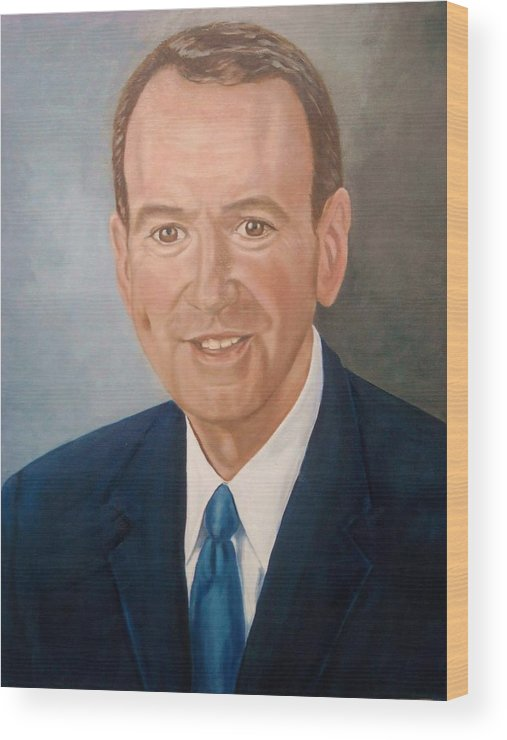 Huckabee Wood Print featuring the painting Mike Huckabee Portrait by Tresa Crain