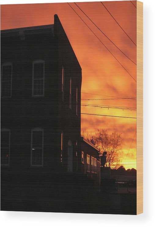Orange Sky Wood Print featuring the photograph Millyard Sunset by Nancy Ferrier