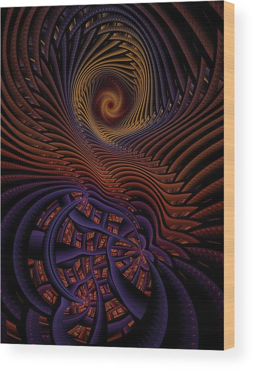 Abstract Wood Print featuring the digital art Mindspace by Ian Duncan Anderson