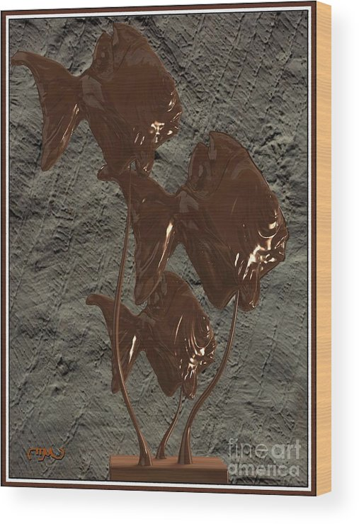 Modern Painting Wood Print featuring the digital art Modern Statue Of Pisces 20 by Pemaro