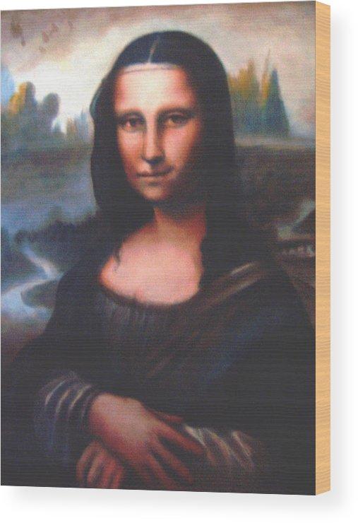Ralph Nixon Jr Mona Lisa Wood Print featuring the painting Mona Lisa Replica by Ralph Nixon Jr
