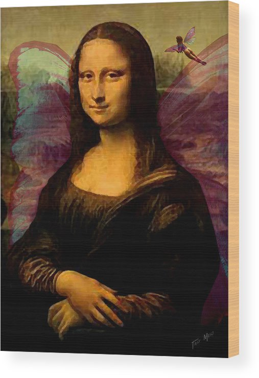 Monalisa Wood Print featuring the painting Monalisa The Fairy by Tray Mead
