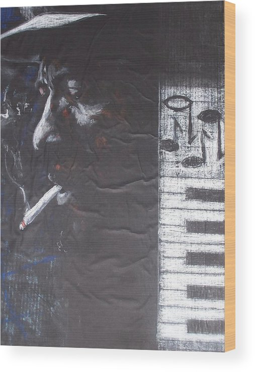 Thelonious Monk Wood Print featuring the drawing Monk In Black And White by Darryl Hines