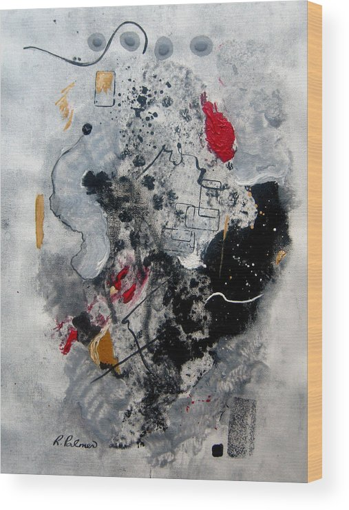 Abstract Wood Print featuring the painting Moods II by Ruth Palmer