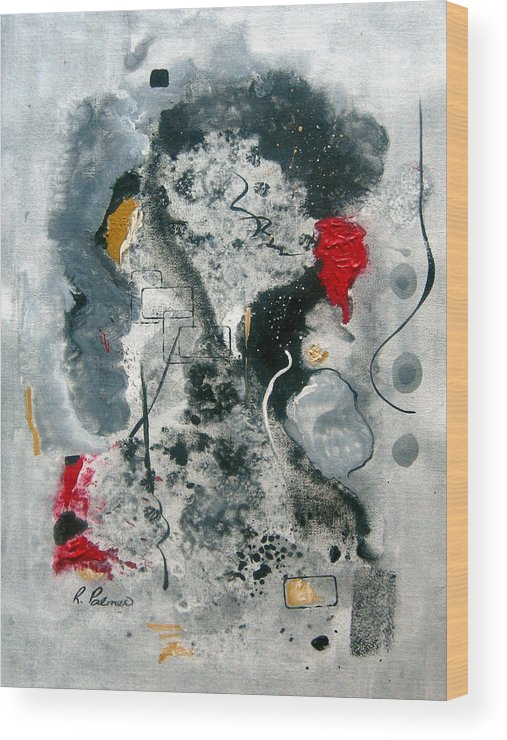 Abstract Wood Print featuring the painting Moods by Ruth Palmer