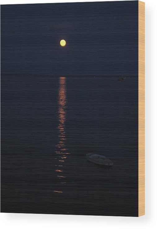 Twilight Wood Print featuring the photograph Moon At Province Town by Oscar Rodriguez