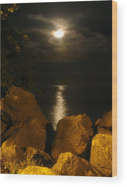 Moon Wood Print featuring the photograph Moon Rise by Steve Madore