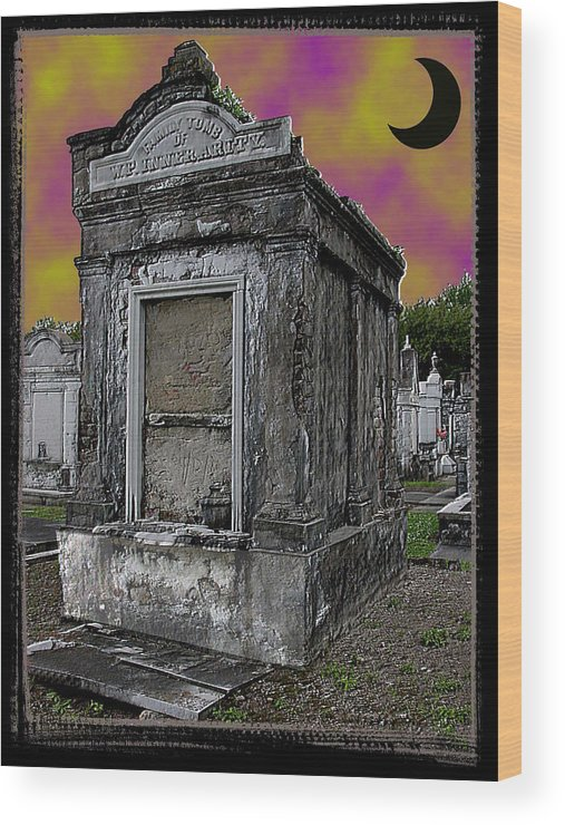 New Orleans Wood Print featuring the photograph Moonlit Cemetary by Linda Kish