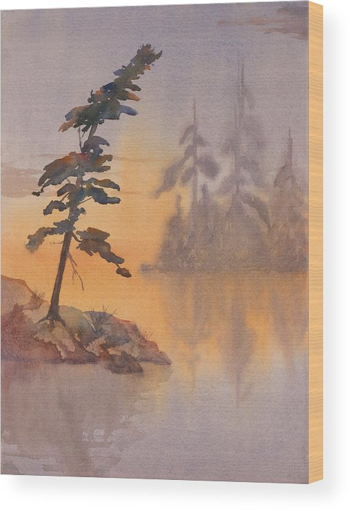Lake Wood Print featuring the painting Morning Mist by Debbie Homewood
