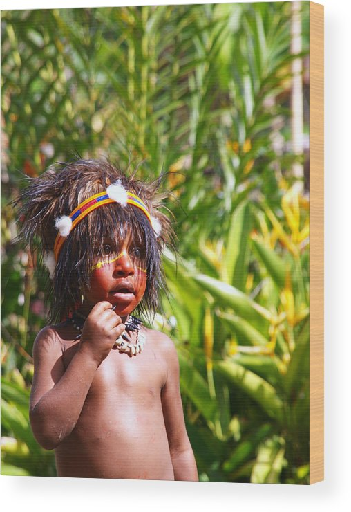 Tribal Wood Print featuring the photograph Mount Hagen Papua New Guinea Aog 91 by Per Lidvall