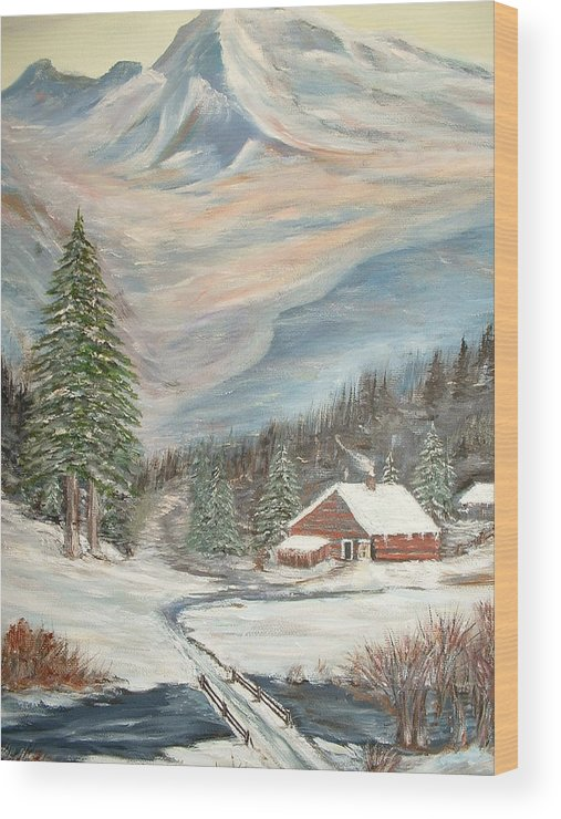 Landscape Mountains Cabin River Trees Wood Print featuring the painting Mountain Cabin by Kenneth LePoidevin