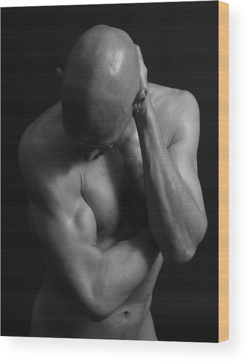 Nude Wood Print featuring the photograph Mr Gym Bnw by Robert Gebbie