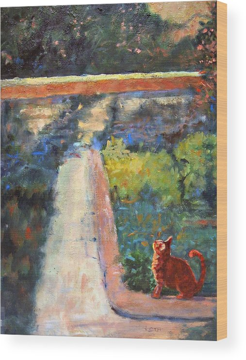 Animal Wood Print featuring the painting Museum Cat Enters The Picture After Georges Seurat by Jimmie Trotter