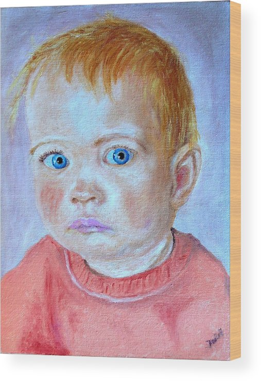 Leonie Wood Print featuring the painting My Granddaughter Leonie by Helmut Rottler
