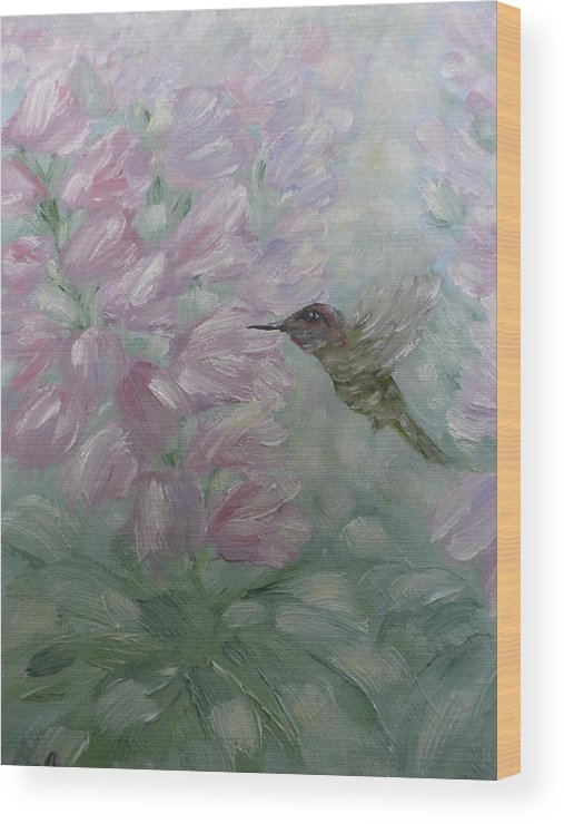 Hummingbird Wood Print featuring the painting My Hummingbird by Carrie Mayotte