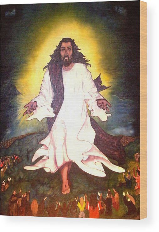 Jesus Wood Print featuring the painting My Lord My Savior He Cometh by Cleautrice Smith