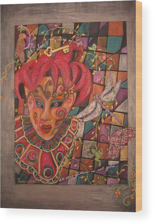 Jester Wood Print featuring the mixed media Mystery by Marlene Robbins