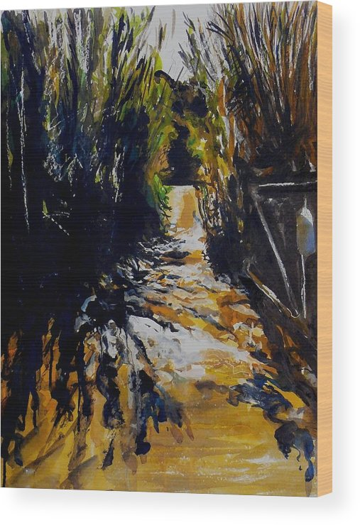 Landscape Wood Print featuring the painting Mystery Path by Doranne Alden