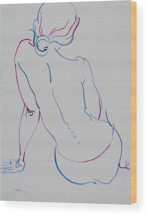 Woman Wood Print featuring the drawing Naked Woman Sitting With Bare Back by Vitali Komarov