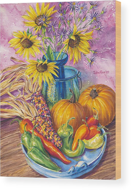Still Life Wood Print featuring the painting New Mexico Harvest by John Rose
