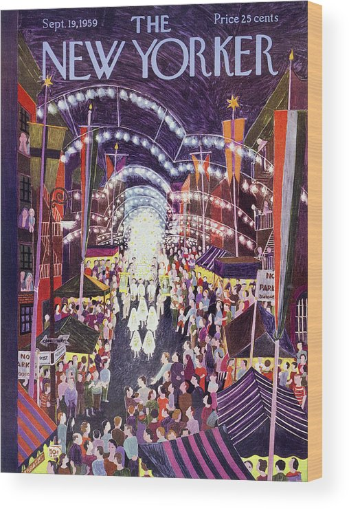 Procession Wood Print featuring the painting New Yorker September 19 1959 by Ilonka Karasz