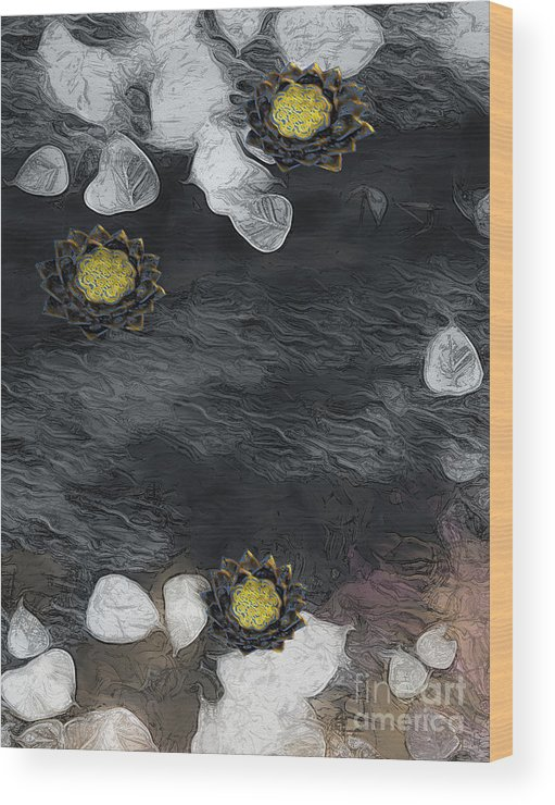 Flower Wood Print featuring the mixed media Night Lotus by Louise Wersall