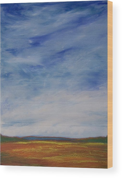 Abstract Landscape Wood Print featuring the painting Nothing But Blue Skies by Wynn Creasy