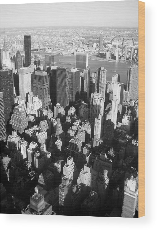 Nyc Wood Print featuring the photograph Nyc Bw by Anita Burgermeister