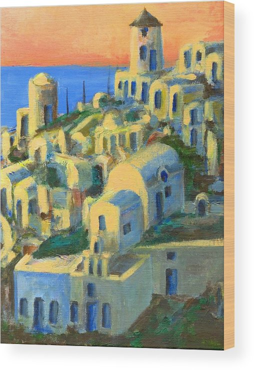 Oia Wood Print featuring the painting Oia. Santorini by Randy Sprout