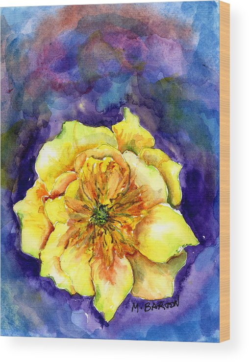 Cactus Wood Print featuring the painting One Cactus Flower by Marilyn Barton