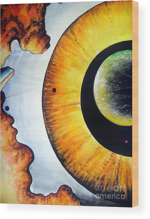 Abstract Wood Print featuring the painting Open Mind. Door To Eternity by Sofia Metal Queen