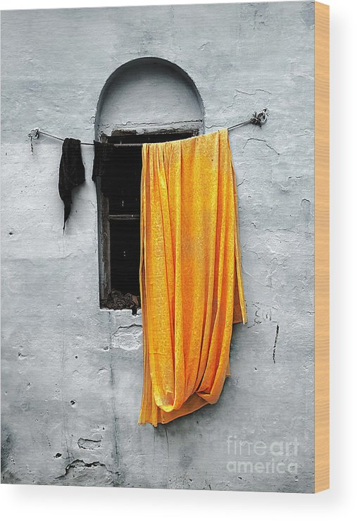 Window Wood Print featuring the photograph Orange Sari by Derek Selander