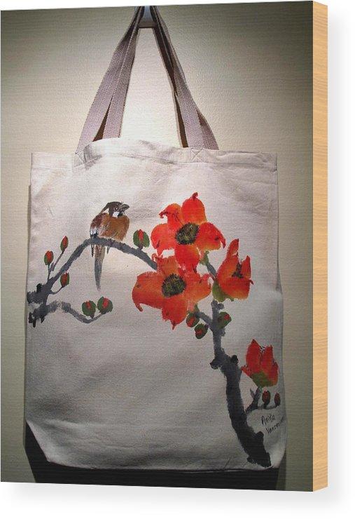 Original Hand-painted Tote Bags Wood Print featuring the painting Original Hand-painted Totebag by Anita Lau