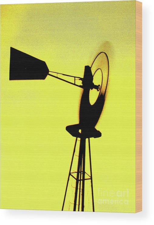 Windmill Wood Print featuring the photograph Otoe County Windmill by Christine Belt