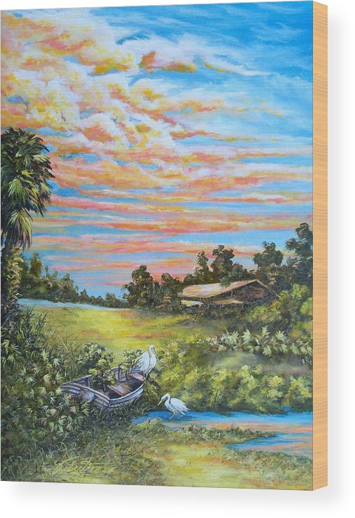 Landscape Wood Print featuring the painting Out Of Commission by Dennis Vebert