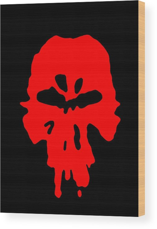Paint Face Mask Skull Red Wood Print featuring the digital art Paint by Flat Black Project