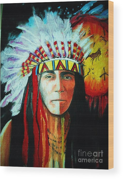 Red Wood Print featuring the mixed media Painted Face Warrior by Lynda Clark