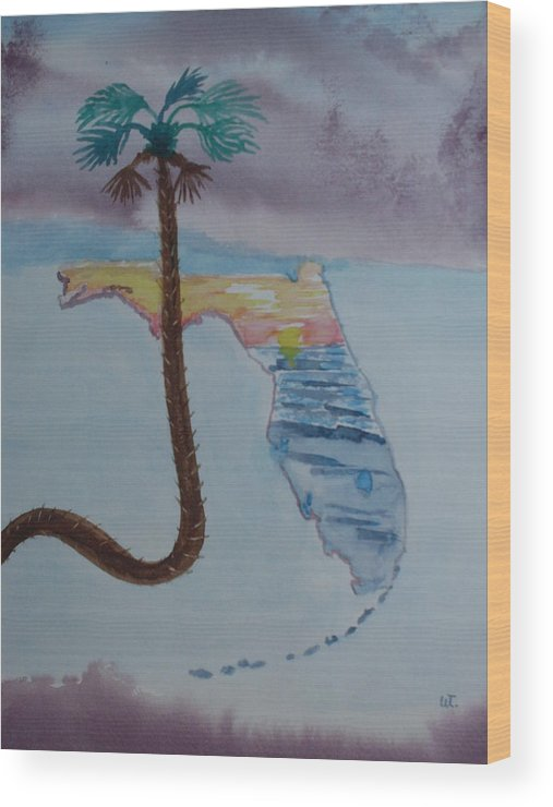 Landscape Watercolor Palm Tree Wood Print featuring the painting Palm Over Florida by Warren Thompson